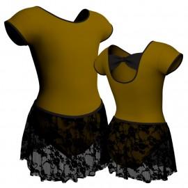 Body danza con gonnellino in pizzo maniche aletta SK2LCP210