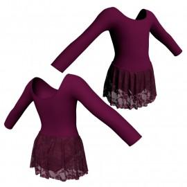 Body danza con gonnellino in pizzo maniche lunghe SK2LCP405