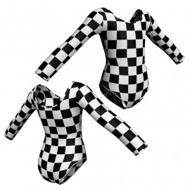 Body danza in lycra stampata maniche lunghe PSA405