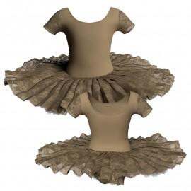 Tutù ballerina professionale manica corta con inserto in rete o pizzo TUT-P407T