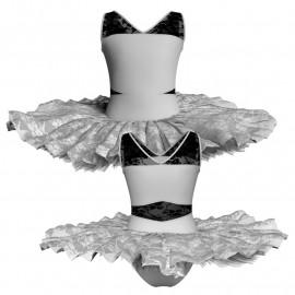 Tutù ballerina professionale senza maniche con inserto in rete o pizzo TUT-P101