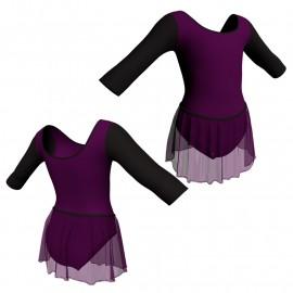 Body danza con gonnellino in chiffon maniche 3/4 SK2LCC406