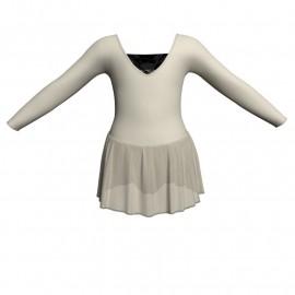 Body danza maniche lunghe con inserto in rete o pizzo e gonnellino in chiffon SK1LPC2532