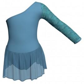 Body danza senza maniche con inserto in rete o pizzo e gonnellino in chiffon SK1LPC999T